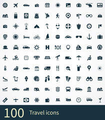 100 travel icons set