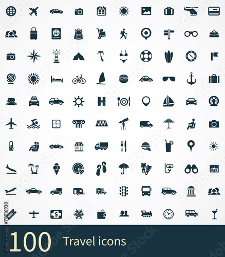 100 travel icons set - 78016930