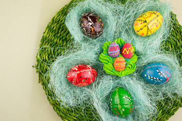 Easter eggs decorated with a nest