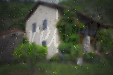 Rain drops on a background of the house