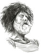 Smoking. Bearded smoker (Sailor) - Hand drawn full sized illustr - 78017789