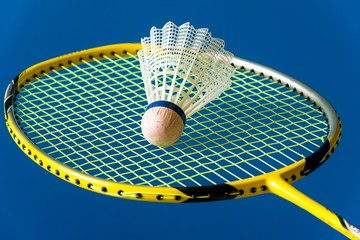 Badminton shuttlecock on the racket