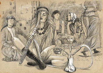 Smoking Hookah (Harem) - An hand drawn full sized illustration