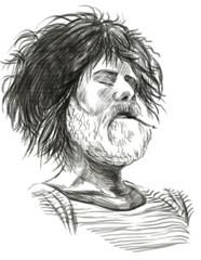 Smoking. Bearded smoker (Sailor) - Hand drawn full sized illustr