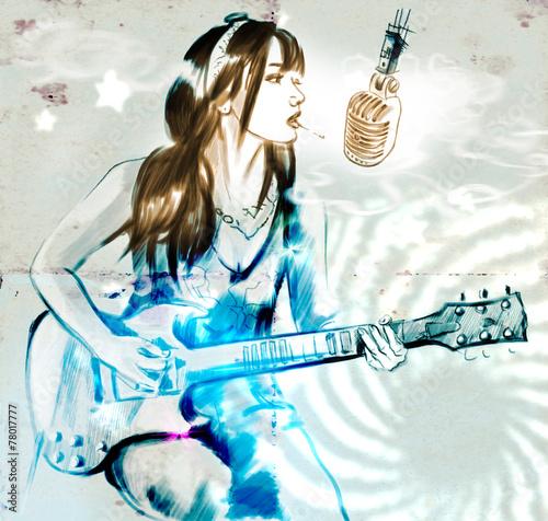Smoking. Guitar player. An hand drawn full sized illustration. - 78017777