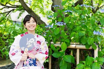 young asian woman wearing kimono
