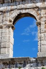 Window of ancient Roman amphitheater in Pula, Croatia
