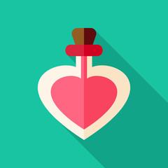 Love poison bottle with heart shape
