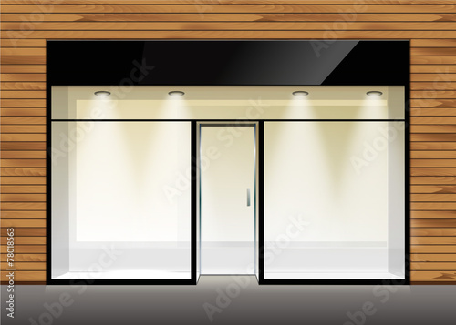 Vector Shop Boutique Store Front with Big Window - 78018563