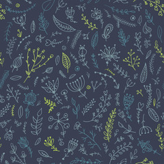 Herbs and flowers seamless pattern