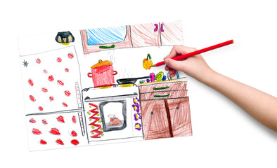 kitchen interior. children drawing.