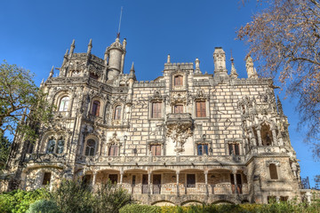 Front view of an ancient castle Regaleira. Portugal, Sintra.