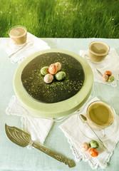 Easter cake with tea matcha