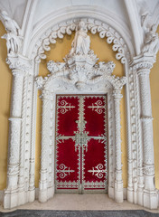 Very ancient castle door facade Regaleira.
