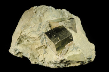 Cubic crystals of pyrite mineral