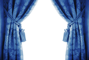 blue curtains on a white background