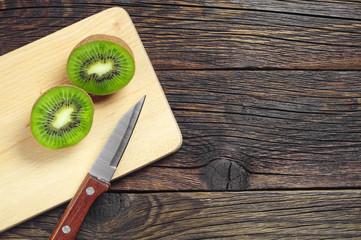 Two half kiwi fruit