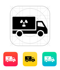 Truck with radiation icon.