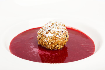 FRIED ICE CREAM WITH FRUIT COULIS recipe on a white background.