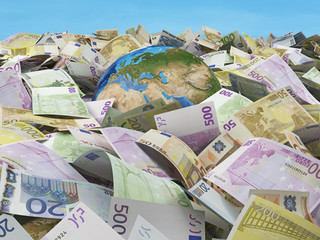 globe and many euro bills