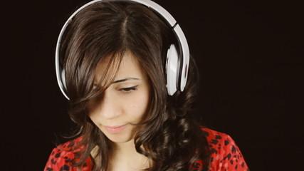 Music woman headphones black fake sadness laugh