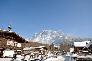 Zugspitze, Germany's highest mountain seen from Ehrwald, Austria