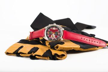 Moderrn mens sport chronograph wrist watch on sport gloves
