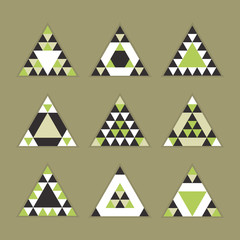 Geometrical olive green tile equilateral triangles icons set