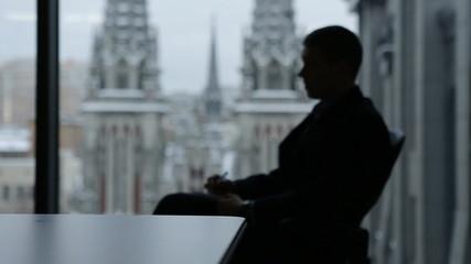 Man in office, silhouette