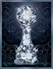 Diamond chess pawn card, vector illustration