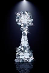 Diamond  chess pawn, vector illustration