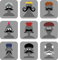 Funny Face Men - Web Icon Set