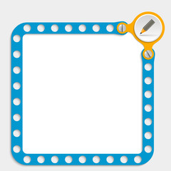 blue frame for any text with screws and pencil