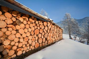 Winter landscape with firewood, Pitztal Alps - Tyrol Austria