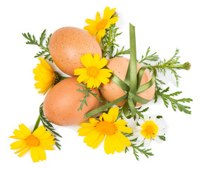 Easter still life of decorative eggs and spring flowers