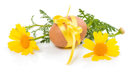 easter egg and yellow flowers