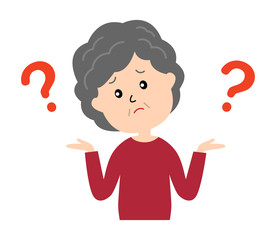 I don't know. An elderly woman shrugging with question marks.