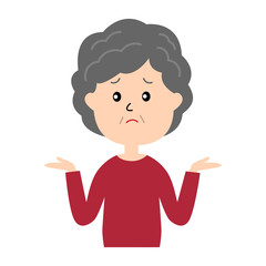 I don't know. An illustration of an elderly woman shrugging.