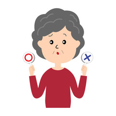 A confused elderly woman with yes and no signs
