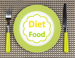 """Plate with text """"Diet Food"""", fork and knife"""