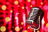 Fototapety Retro microphone on bright background, Karaoke concept