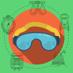 Flat illustration for climbing goggles