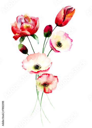 Fototapeta samoprzylepna Poppy and Tulips flowers