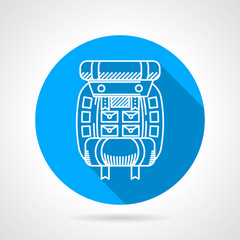 Flat round vector icon for hike backpack