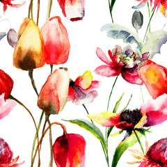 Seamless pattern with Tulips and Peony flowers