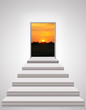 stairs leading up to landscape of sunset - 78023535