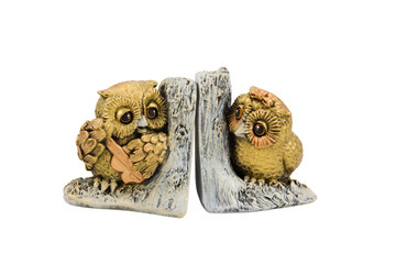 Statuette two owls on branch
