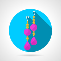 Round flat vector icon for earrings