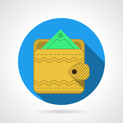 Yellow wallet flat vector icon