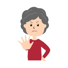 An elderly woman holding her hand in front to show stop gesture